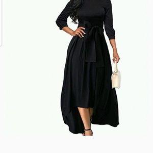 3/4 Sleeve Crew Neck Asymmetrical Maxi Dress